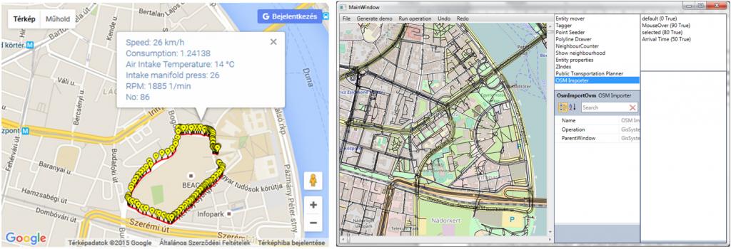 A feldolgozott adatok és a tanszéken fejlesztett térinformatikai alkalmazás